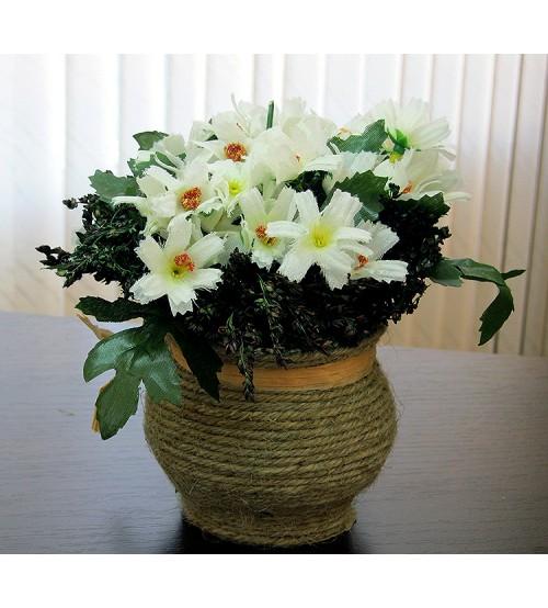 Flori artificiale in ghiveci albe