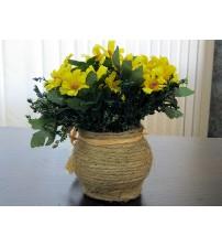 Flori artificiale in ghiveci galbene