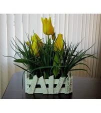 """Flori artificiale in ghiveci """"Lalele galbene"""""""